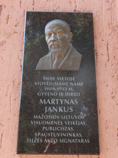 Memorial plaque for Martynas Jankus