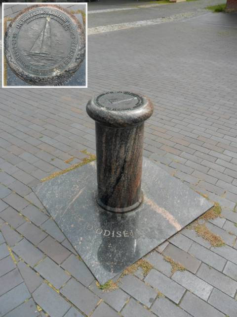 """Remembrance bollard to yacht's """"Ambersail"""" voyage, devoted to commemoration of millennium of lithuania name"""