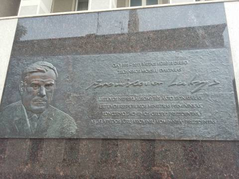Memorial plaque with a bas-relief for Bronislovas Lubys