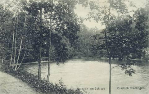 Kretingos dvaro parko pirmasis tvenkinys I-ojo pasaulinio karo metais