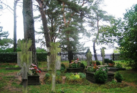 Ethnographic cemetery and wooden tombstones