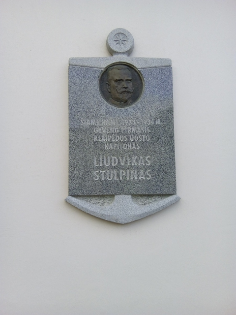 Memorial plate for Liudvikas Stulpinas