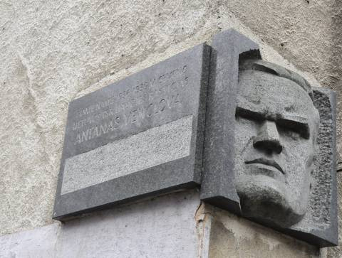Memorial plaque with bas relief for Antanas Venclova