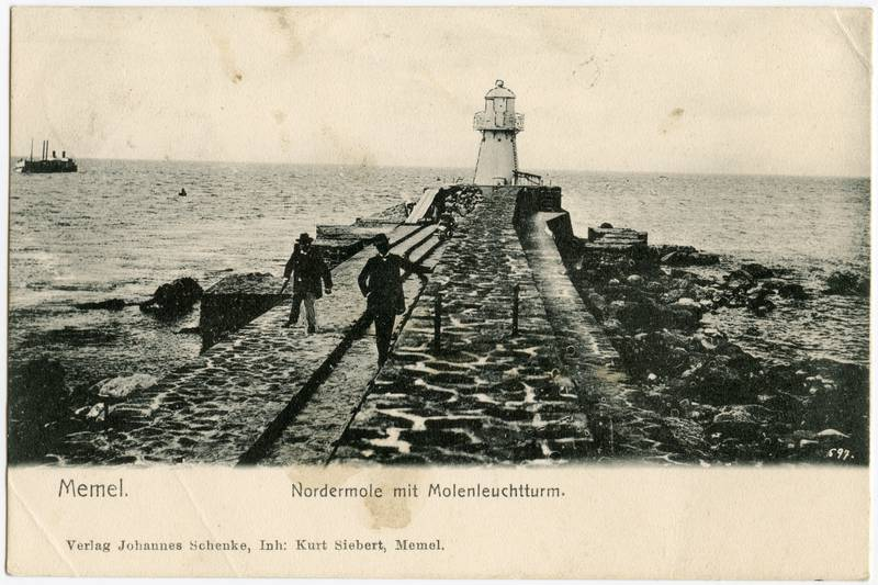 Memel. Nordermole mit Molenleuchtturm