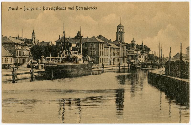 Memel - Dange mit Börsengebäude und Börsenbrücke