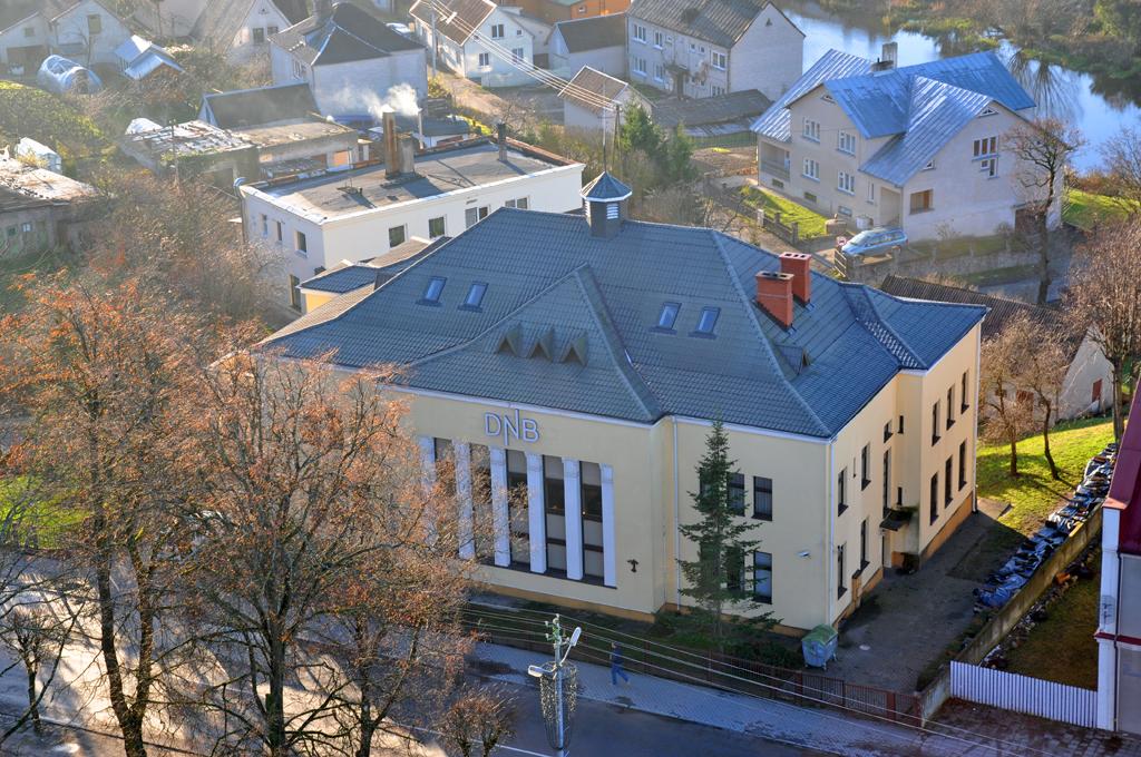 Kretingos banko rūmų vaizdas iš bažnyčios bokšto